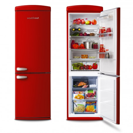 Free-standing Fridge-freezer in red