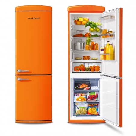 Free-standing Fridge-freezer in orange