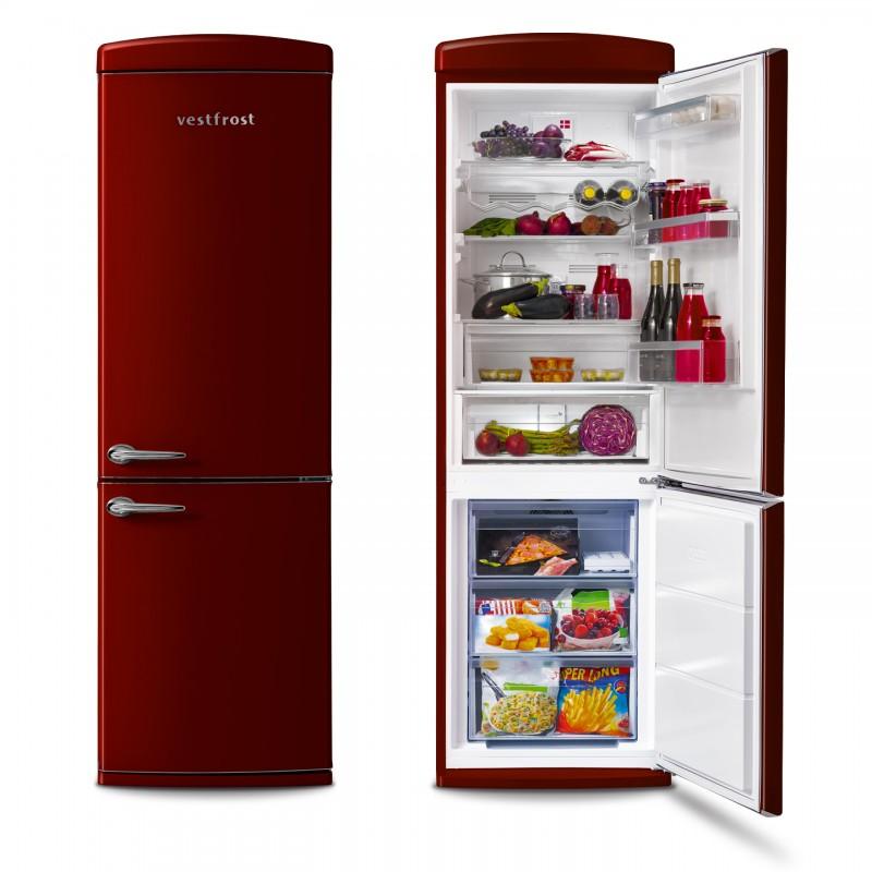 Free-standing Fridge-freezer in burgundy